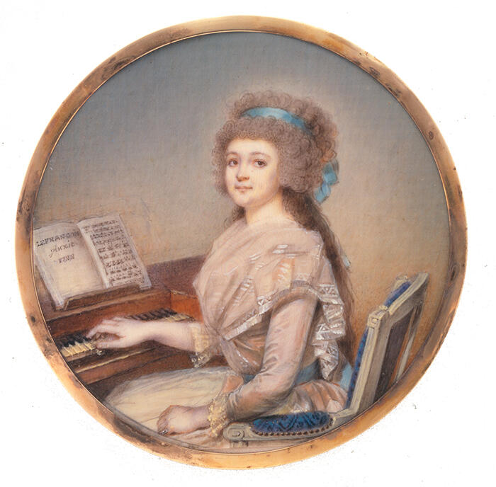 The Countess of Balbi sitting at the pianoforte, by Nicolas Le François, 1788.<br/> &copy; madd Bordeaux - Maurice Aeschimann
