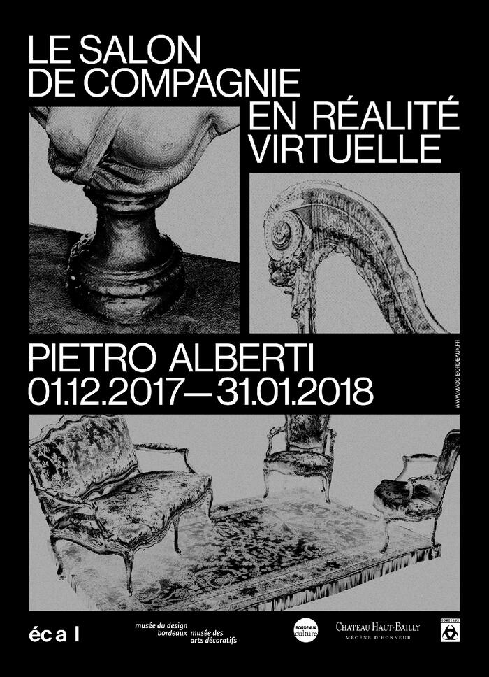 The exhibition poster of The Salon de compagnie in augmented reality<br/> © Giacomo Vitti Bastianelli